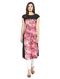 ZIYAA Pink Faux Crepe Half Sleeve And Round Neck Digital Printed Kurti