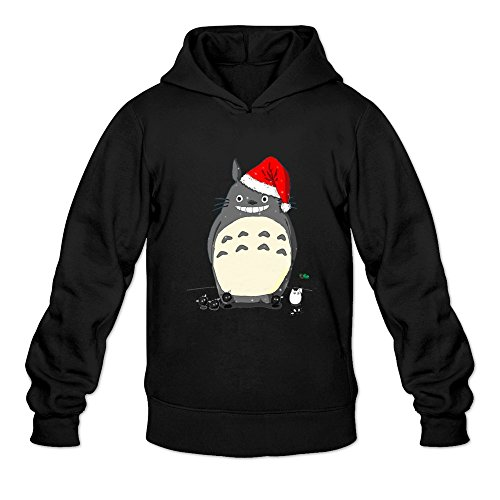Crystal Men's Christmas Totoro Long Sleeve Hoodie Hooded Black US Size S
