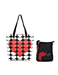 Combo Of 3D Red Heart Canvas Tote Bag With Black Small Sling Bag