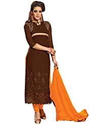Vibes Fashionable Pure Georgette Unstiched Dress Materials,Free Size,Brown,V228-6501