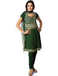 Exotic India Islamic-Green Anarkali Suit With All-Over Embroidered Sequi - Green