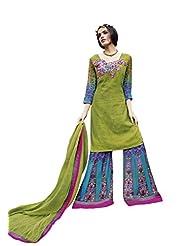 Green Colour Faux Cotton Party Wear Paisley Print & Patch Embroidery Plazo Suit (Jinaam) 9076A - B015EDBISA