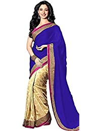 Arawins Womens Satin Blue Saree With Blouse Piece New Collection In Great Indian Sale Offers