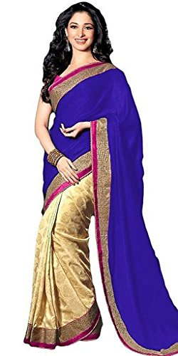 Arawins Women's Ethnic Clothing Designer Party Wear Limited Stock Sale Offer In Blue Beige Color Satin Material...