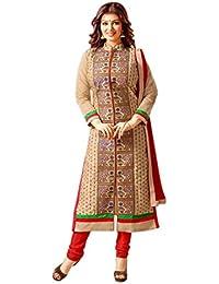 Styles Closet Beige Chanderi Embroidered Salwar Suit