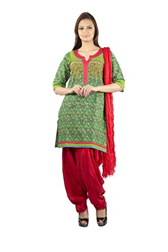 Rama Set Of Green Color Floral Printed Kurti With Red Color Duppatta & Patiala