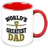 Fathers Day Gift - HomeSoGood World Greatest Dad White Ceramic Coffee Mug - 325 Ml