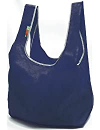 EcoJeannie Super-Strong Ripstop Nylon Foldable Reusable Bag (Navy) Tote Grocery Shopping Bag With Built-in Pouch...