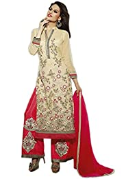 Aryan Fashion Designer New Style Heavy Embroidered Cream And Red Straight Plazzo Suits