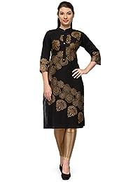 Aadhunik Libaas Black Block Cotton Printed Kurta Long Top For Women Girls