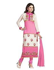 Trendz Apparels Pink And Cream 60 Gm Georgette Straight Cut Salwar Suit