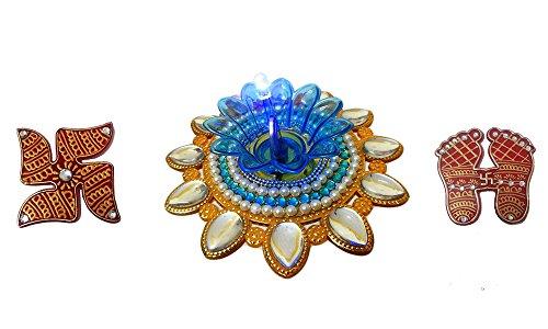 Bold N Elegant Yellow Blue Finely Decorated Handcrafted Designer Floating Diya Candle With LED Lights & Holy Laxmi...