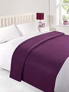 Other Kids Furniture Dreamscene Warm Soft Plain Grape Fleece Throw Over Sofa Bed Blanket 120