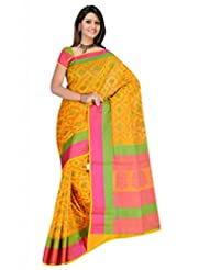 Sehgall Sarees Indian Bollywood Designer Ethnic Professional Chanderi Silk Jari Woven Saree Yellow