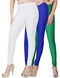 Fashion And Freedom Women's Pack Of 3 White,Blue And Green Satin Leggings