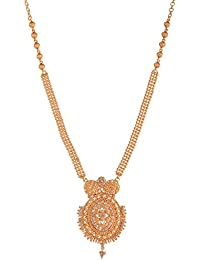 Ganapathy Gems 1Gram Gold Plated Kerala Design Necklace With White CZ Stones (8949)