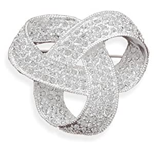 Love Knot Pin Brooch Swarovski Crystal Plated with Fine Silver
