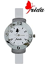 Frida New Latest Beautiful Designer Branded White PU Belt Analog Awesome Looks Best Offer In Deal Casual Classical...