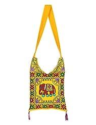 Rajrang Indain Designs Elephant Printed Cotton Embroidered Work Yellow Sling Bag