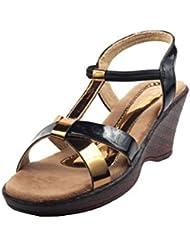 Lamere Women's Fashion Synthetic Antic Gold-Black Heels (LA-550)
