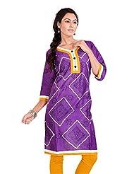 Pranjal Women's Satin Cotton Pure Bandhej With Block Print Purple Colour Straight Kurta