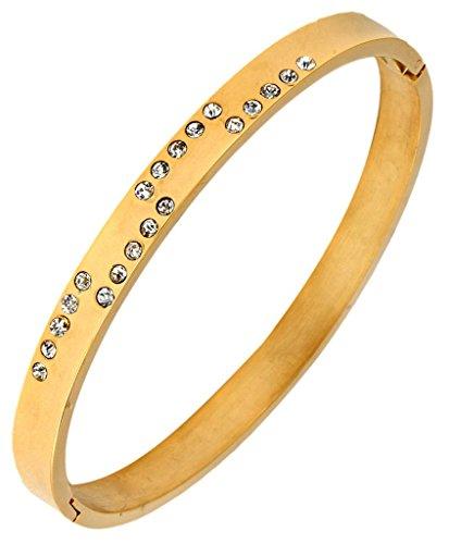 The Jewelbox Men Stainless Steel Oval Free Size Gold CZ Kada Bangle Bracelet