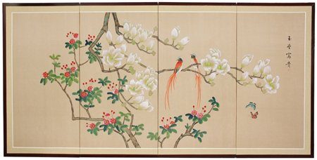 Oriental Furniture Unique Romantic Love Gift Ideas For Her Him 36 By 72 Inch Love Birds Japanese Style Art Screen Painting Obikated