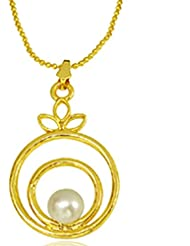 Surat Diamonds Trendy Real Button Pearl & Gold Plated Round Shaped Pendant With Chain For Women (SDS145P)