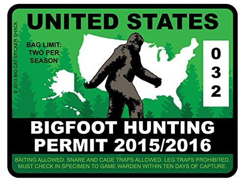 Bigfoot Hunting Permit - United States (Bumper Sticker)