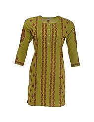 Go Lucknow Women's Cotton Regular Fit Kurti (GL-AM-168, Green, Medium)