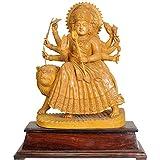 Exotic India Goddess Durga - White Cedar Wood From Trivandrum