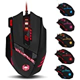 Zelotes T90 8000 DPI High Precision USB Wired Gaming Mouse,8 Buttons, Weight Tuning Set, (Black)