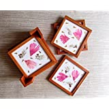 Aamori Passion Pink Coaster With Holder Set