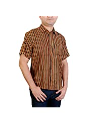 Viniyog Men Hand Woven Hand Block Printed Tussar Silk-Cotton Shirt