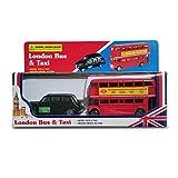 Diecast Genuine London Bus and London Taxi Set (Mini) Souvenir - Moving Wheel Action - Sightseeing - Hop On Hop Off - Toy - 5 Passenger Cab - Hackney Cab - London Souvenir