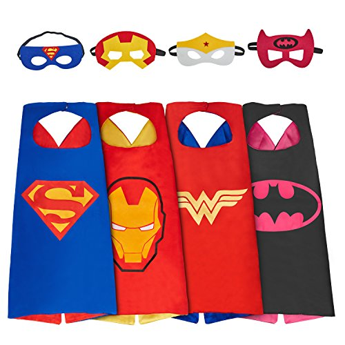 Mijoyee Superhero Dress Up Costumes (boy girl) and Mask set of 4 different styles