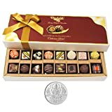 Chocholik Belgium Chocolates - 8 Milk And 8 White Attractive Chocolate Box With 5gm Pure Silver Coin - Diwali...