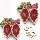 Ghasitaram Gifts Double Diya Set With 200 Gms Kaju Katli