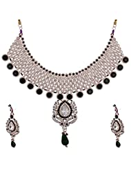 Lucky Jewellery Purple And Green Guluband Necklace Set With Mang Tika For Women