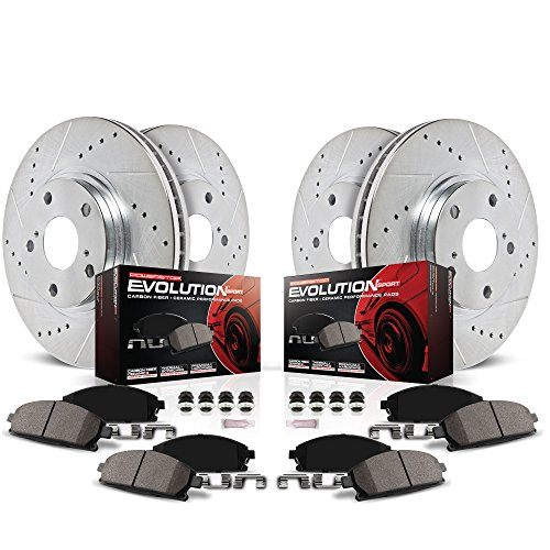 Power Stop K2150 Front/Rear Ceramic Brake Pad and Cross Drilled/Slotted Combo Rotor One-Click Brake Kit
