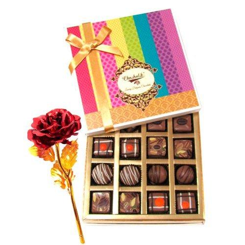 Valentine Chocholik's Belgium Chocolates - Amazing Truffles And Chocolates Collection With 24k Red Gold Rose