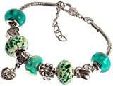 "Aunt's Charm Bracelet with Removable Pandora Compatible Italian Murano Glass Beads for Aunt in Green, 7"" + 1"" Extender"