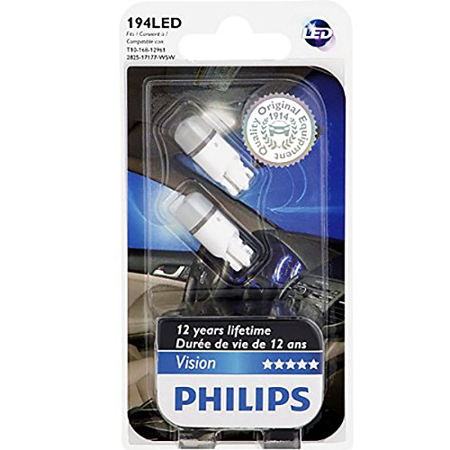 Philips 194 Bright White Interior Vision LED light (Pack of 2)