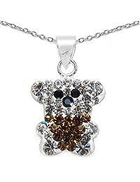 1.70 Grams Black, Brown & White Crystal .925 Sterling Silver Pendant Set