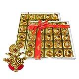 Chocholik's Perfect Combination Of Almond And Fruit & Nut Chocolate Truffles With Ganesha Idol - Diwali Gifts