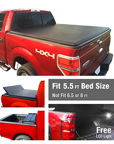 Premium TriFold Tonneau Truck Bed Cover For 09-14 Ford F-150 (NOT Raptor Series) w/o Utility Track 5.5 feet (66 inch) Trifold Truck Cargo Bed Tonno Cover (NOT For Stepside)