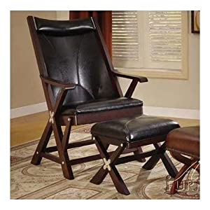 folding living room furniture folding chair with ottoman in black bycsat 13988