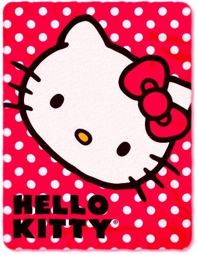 Red Polka Dot Hello Kitty Fleece Blanket Throw
