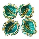 Store Utsav Diya Terracotta Leaf Shaped With Green, Orange, And Yellow With Golden Glitter Border - 1 - B015TAMEBS