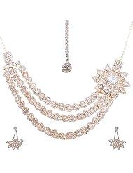 Nimble Golden Metal Choker Necklace Set For Women - B00XVMKT6E
